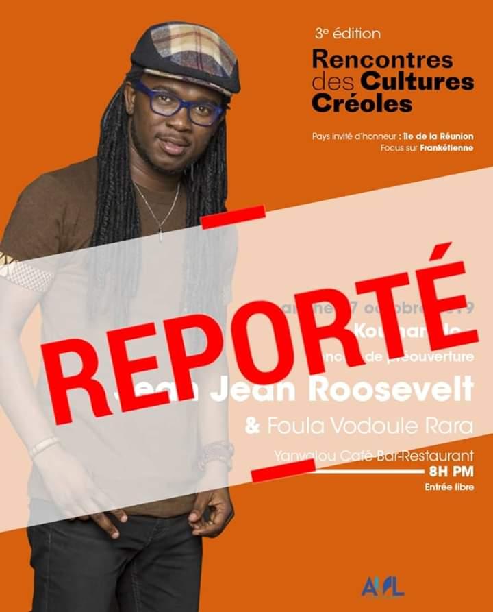 Le concert pré-ouverture du festival rencontres des cultures créoles est reporté à une date ultérieure