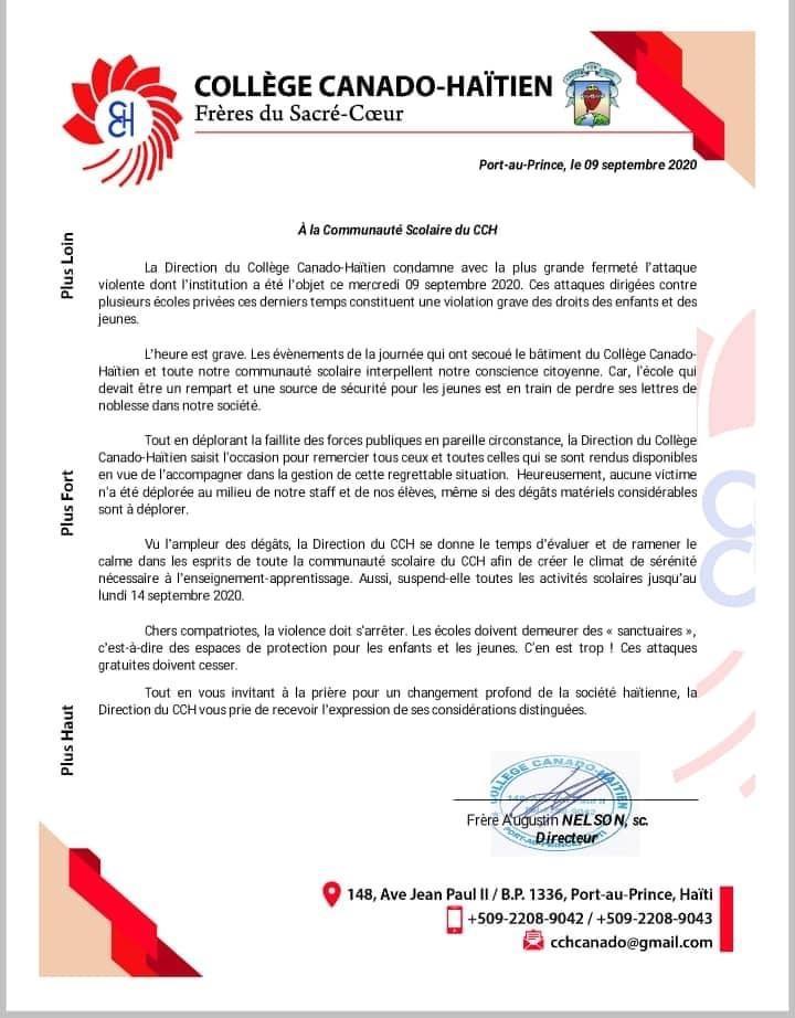 Haïti -Actualités: Le Collège Canado Haïtien suspend ses activités jusqu'au lundi 14 septembre
