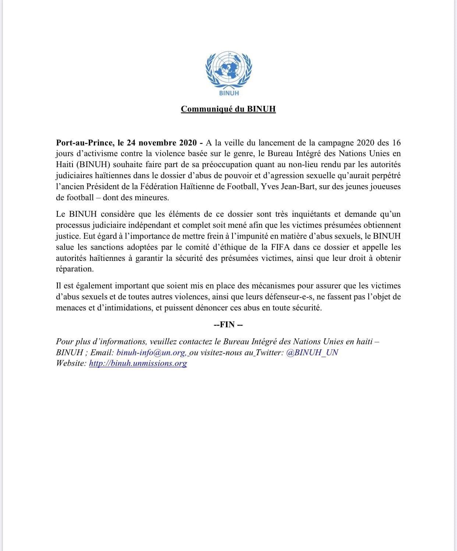Haïti-Actualités: Le BINUH (bureau intégré des Nations Unies en Haïti) félicite la décision de la FIFA & s'indigne de la justice haïtienne dans l'affaire Dadou