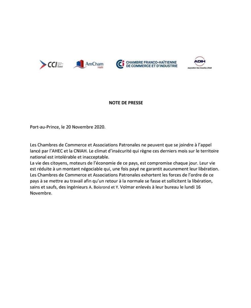 Haïti-Actualités: Insécurité criante, les chambres de commerces et associations patronales se préoccupent