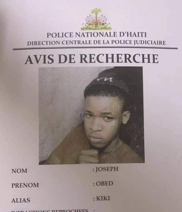 """Assassinat de l'écolière Évelyne Sincère : un avis de recherche émis contre Obed Joseph alias """"kiki"""""""