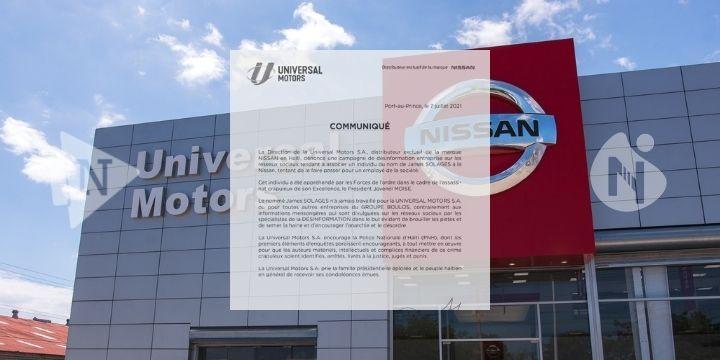 Haïti-Actualité : La direction de l'Universal Motors S. A nié toutes les informations concernant la liaison de James SOLAGES et leur société